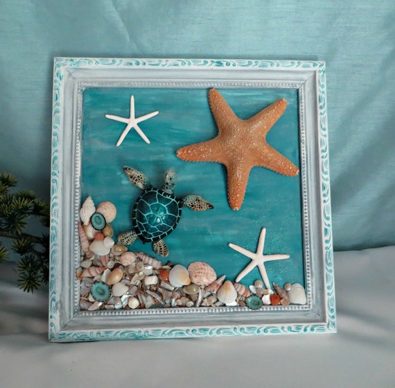 Sea turtle starfish and seashells wall decor beach home decor for Sea house decor