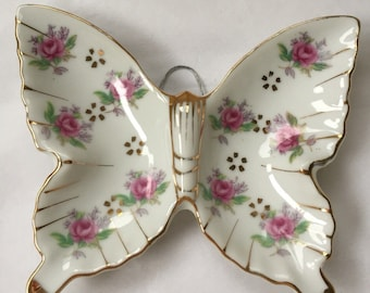 SALE! 5 Dollars Off! 1950s Porcelain Butterfly Shabby Pink Roses Wall Hanging Dish Tray Japan
