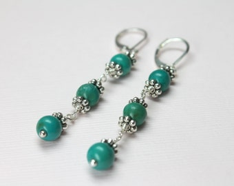 Long Turquoise Earrings, Beaded Earrings, December Birthstone, Turquoise Dangles, Wire Wrapped Turquoise Stones
