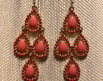 Coral stone, dropped earings. Gift for Her.