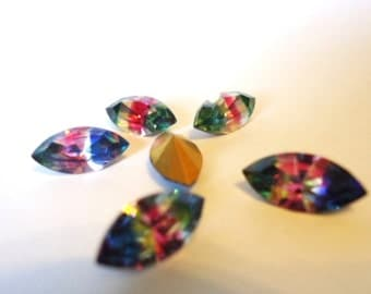 Vintage Crystal Glass Iris or Rainbow colour stripe Marquise Navette foiled rhinestones approx 5mm x 10mm - 6 pieces Art No 300