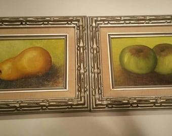 Two framed vintage oils of fruit