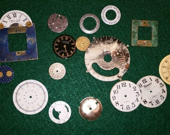 Vintage and various watch faces altered art steampunk