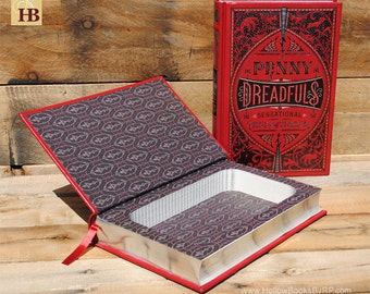 Book Safe - Penny Dreadfuls Sensational Tales of Terror - Leather Bound Hollow Book Safe