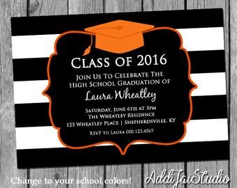 Graduation Cap stripes, your school colors printable 5x7 4x6 or 4x5.5 party invitation
