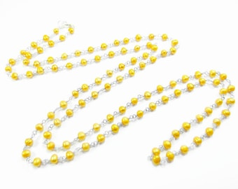 Freshwater Pearl Necklace - Yellow Pearls - Yellow Necklace - Extra Long Pearl Necklace - Layering Necklace - Multistrand Necklace