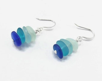Blue Ombre Stacked Seaglass Earrings