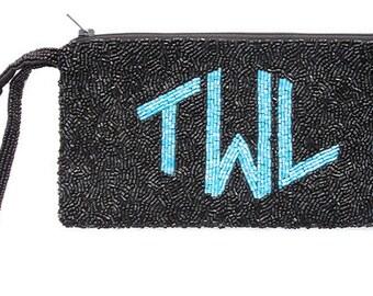 Custom Monogram Beaded Wristlet Wrist Bag Handbag Clutch