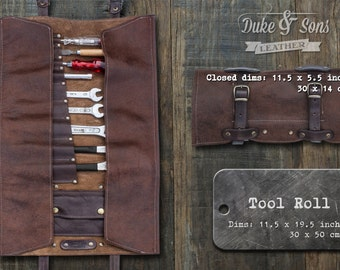 Handmade (brown) Leather Tool Roll with pockets to store your tools