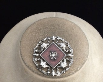 Vintage Brown Enameled Rhinestone Pin