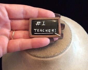 Vintage Ceramic #1 Teacher Black Board Pin