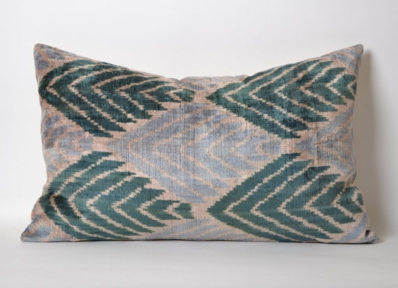 Green Ikat Pillow Cover Light Blue Green Chevron by pillowme