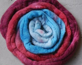 Hand dyed merino silk combed top