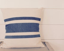 Patchwork French Striped Pillow - Rustic Throw Pillow - Patchwork Pillow - Blue and White Stripes - Linen Look Pillow - Quilted Pillow