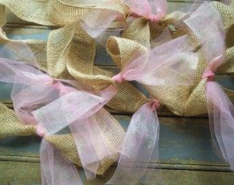 Burlap Garland -Rustic Garland - Wedding Garland - Floral Garland - Rustic Wedding - Wedding Decor -Pink -  Set of Two 6 Foot Garlands -