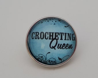 Glass Popper Snap Charm Blue Crocheting Queen Snap Jewelry