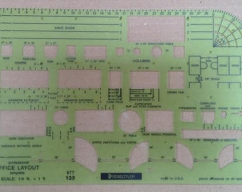 Vintage Staedtler-Mars Professional Office Layout Template 977 132