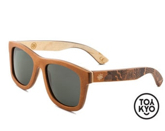 """Engraved Wood Sunglasses, Natural Wooden Sunglasses, Polarized Grey Lens, Boho Accessories, Men's Sunglasses - """"Vallely"""""""