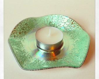 Recycled CD Tea Light Holder.