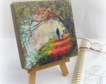Fall Autumn walk square woodblock, hand finished waterways print. canvas print on wood, table art, canal art, orange red autumn artwork