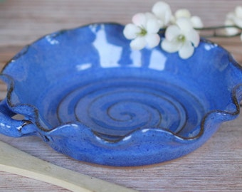 Pottery Brie Baker with Wooden Spreader- Small Casserole - Quiche Dish - Baking Dish - Ceramics and Pottery - READY TO SHIP