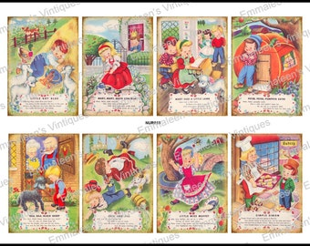 8 Vintage Grunge Nursery Rhymes Collage Sheet ATC ACEO / Retro Children Digital Collage Sheet Tags Images—Printable Ephemera
