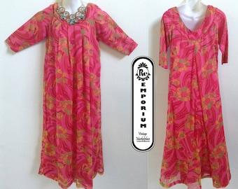 Vintage Maxi Dress Hawaiian Moo Moo Quarter Length Sleeve Maxi Dress Pink Yellow Green Orange Floral Print No. 28