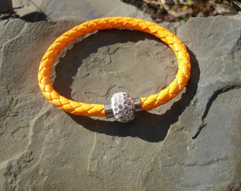 Neon Orange Leather wrap wristband cuff bangle bracelet/ magnetic rhinestone buckle/closure/Orange