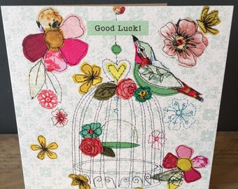 Good Luck-Greeting Card- handfinished