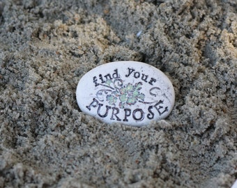 find your purpose clay message stone, inspirational quote purse pocket stone gift