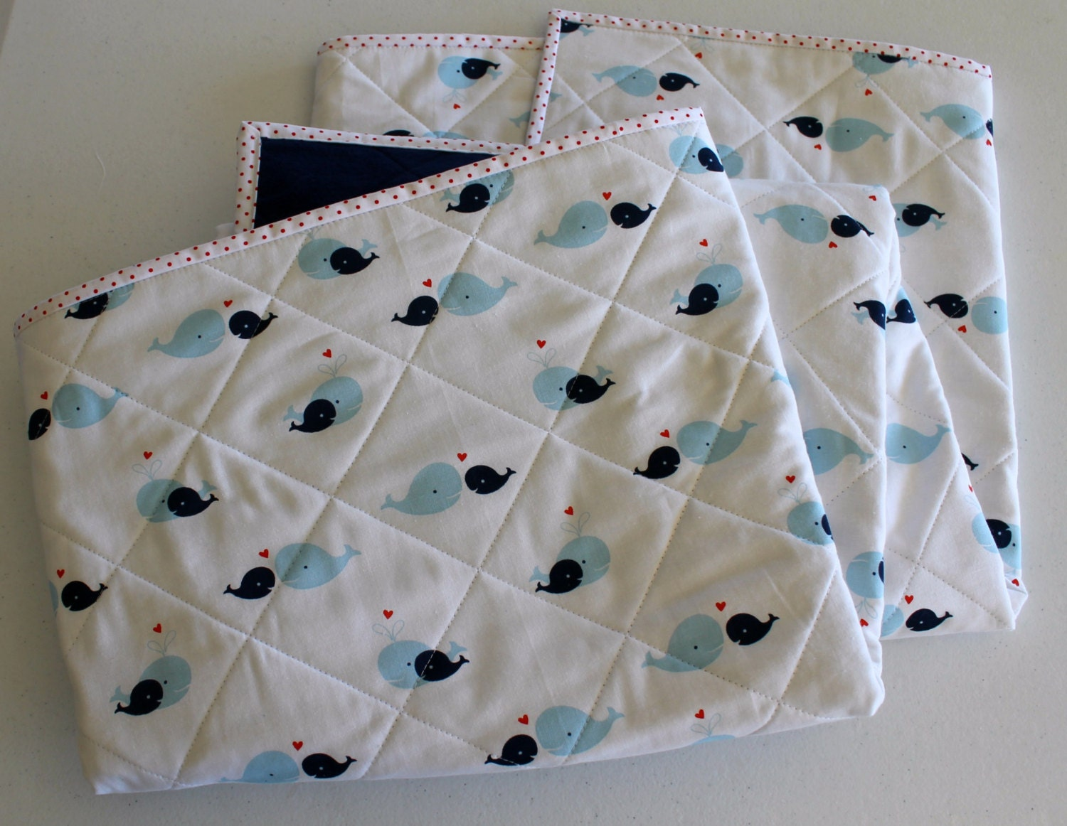 Cozy Whales Quilted Flannel Baby Quilt Baby Blanket