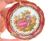 Limoges Plate, Decorative Plate, Limoges Fragonard, Fragonard Plate, Miniature Plate, Tiny Plate, Small Limoges Plate, Plate & Stand