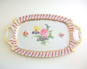 Vintage Tray, Porcelain Tray, Floral Tray, Floral Ring Dish, Floral Trinket Dish, Floral Jewelry Dish, Jewelry Tray, Makeup Tray, Small Tray