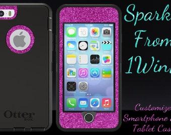 "iPhone 6s Case OTTERBOX - 4.7"" iPhone 6/6s Otterbox Defender Custom Glitter Case  - Black/Raspberry Glitter Cute Sparkly iPhone 6 6s Cover"