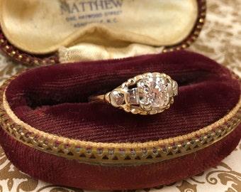 Antique 0.41 Carat Two-Tone Gold Art Deco European Cut Diamond Engagement Ring