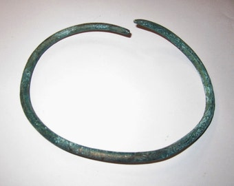 Celtic Bronze Neck Torc Torque Iron Age Complete and Could Be Wearable from England 600 - 200 BC - Authentic Utilized Celtic Adornment!!!