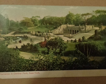 Vintage Original 1907 Terraces In Central Park New York City Postcard Free Shipping
