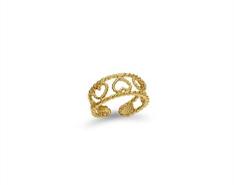 14k solid gold heart toe ring, rope design heart toe ring.