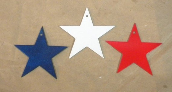 Lot Set Of 3 Red White And Blue Stars 3 Inch Patriotic Metal