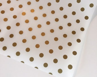 Gold Polka Dot Tissue Paper (18 in x 12 ft), GoldTissue Paper, Gold Gift Wrap, Baby Shower Gift Wrap, Girl GIft Wrap, Craft Supply