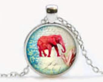 Elegant Elephant Cabochon Glass Pendant Necklace in Gift Box