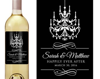 Romantic Wedding Wine Label - Custom Wine Label - Personalized Wine Label - Wedding Wine Bottle Label - Happily Ever After