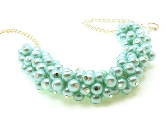 Turquoise Pearl Cluster Necklace, Bridesmaid Cluster Necklace, Pearl Chunky Necklace, Pearl Jewelry, Bridal Jewellery