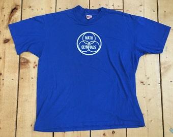 Vintage 70s 80s Novelty Math Olympiads Mathlete 50/50 T Shirt - XL