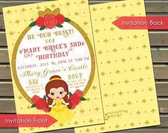 Belle Birthday Invitations / Thank You Notes / Favor Stickers / Be Our Guest Invitation