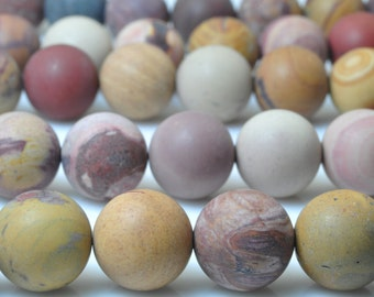 37 pcs of Natural Sunset Mookaite matte round beads in 10mm (05635#)