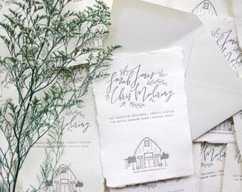 barn wedding save the dates