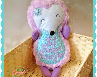 Personalized Plush Hedgehog - hedgehog stuffed animal - embroidered plush animal - hedgehog stuffie - soft stuffed animal