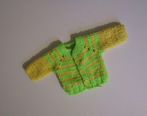 Very Soft Newborn Baby cardigan, Crochet Baby Boys / Girls Clothes, 0 to 2 Months, Newborn baby clothes, Sweaters, yellow, light green