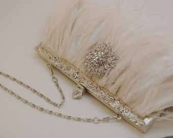 Bridal Clutch, Ivory Feather 1920s Bridal Handbag, Ostrich Feather Clutch, Crystal Clutch, Ivory Wedding Handbag, Bride Personalized Clutch